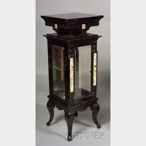 Aesthetic Movement Porcelain-mounted and Ebonized Display Cabinet/Pedestal