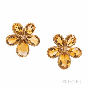 Antique Gold and Citrine Pansy Earrings