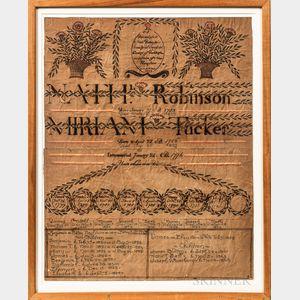 Framed Robinson/Tucker Watercolor Family Record