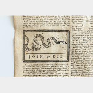 Franklin, Benjamin (1706-1790) Pennsylvania Gazette, May 9, 1754; First Publication of the Severed Snake Political Cartoon: Join, or Di