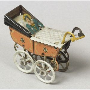 German Lithographed Tin Baby in Perambulator Penny Toy