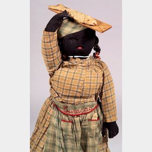 Large Black Wool Doll from Curacao
