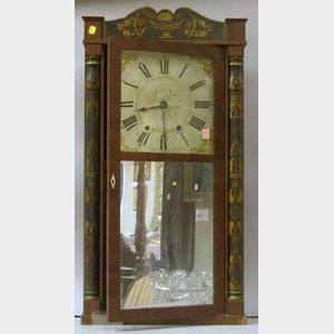 George Marsh Mahogany and Stencil Decorated Ebonized Split Baluster Mirror Shelf   Clock