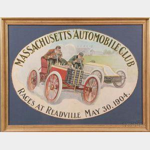 Massachusetts Automobile Club, Readville, May 30, 1904, Vintage Poster