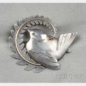 Sterling Silver Bird Brooch, Georg Jensen