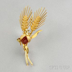 18kt Gold and Carnelian Brooch, Tiffany & Co.