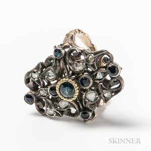 Antique 14kt Gold, Sterling Silver, Sapphire, and Rose-cut Diamond Ring