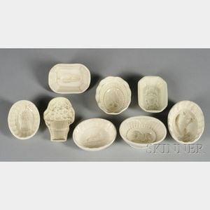 Eight Small Creamware Culinary Molds