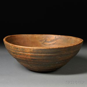 Large Blue-painted Turned Ash Wooden Bowl