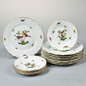 Group of Herend Porcelain Rothschild Bird Tableware