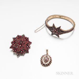 Three Pieces of Antique Garnet Jewelry