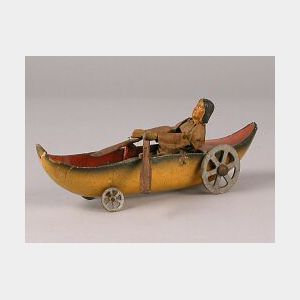 Papier-mache Toy Boat with Doll