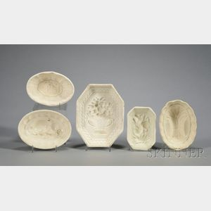 Five Creamware Culinary Molds