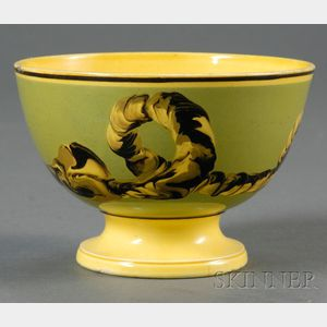 Footed Yellow-glazed Mochaware Bowl