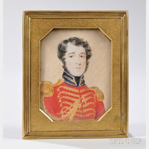 Watercolor Miniature Portrait of a Military Officer