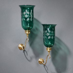 Pair of Etched Emerald Glass and Brass Wall Sconces