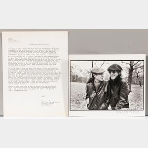 Ono, Yoko (b. 1933) Signed Correspondence Sent to President Ronald Reagan Regarding Establishing Strawberry Fields in Central Park in M
