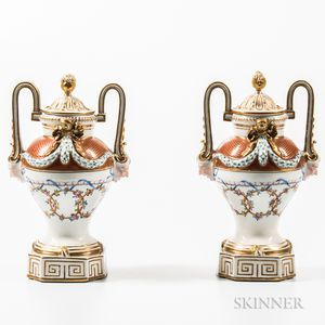Pair of Meissen Porcelain Vases and Covers