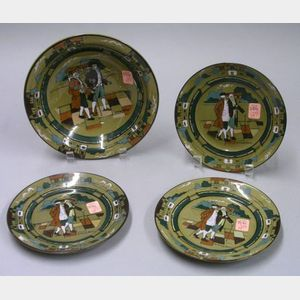 "Buffalo Pottery Deldare Ware ""Ye Village Streets"" Soup Bowl and Set of Three Plates"