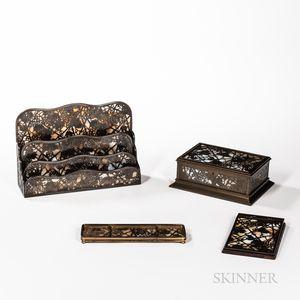 Tiffany Studios Three-piece Grapevine Pattern Desk Set and Jewelry Box