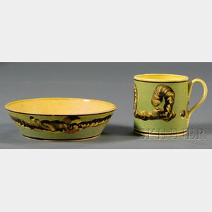 Yellow-glazed Mochaware Can and Saucer