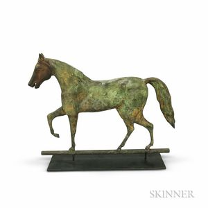 Small Molded Sheet Copper and Iron Standing Horse Weathervane