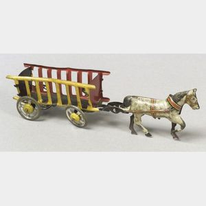 German Lithographed Tin Horse-drawn Hay Wagon Penny Toy