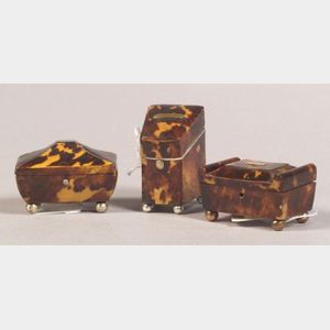 Three English Miniature Tortoiseshell Boxes