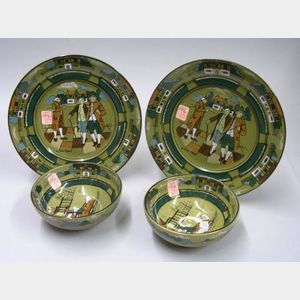 "Pair of 1908 Buffalo Pottery Deldare Ware ""Ye Olden Times"" Plates and a Pair of   1909 ""Ye Olden Days"" Bowls"