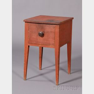 Red-painted Pine One-Drawer Stand