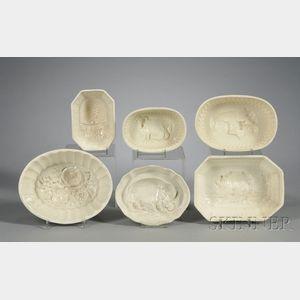 Six Creamware Culinary Molds