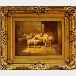 Clara Belle Owen (American, 1854-1955)      Sheep in a Barn