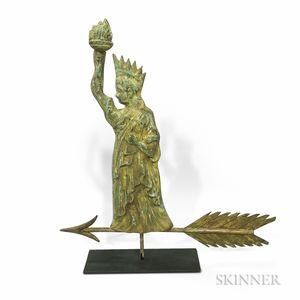 Small Molded Copper Statue of Liberty Weathervane