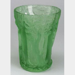 Large Green Relief Decorated Art Glass Vase