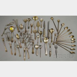 Group of Assorted American Sterling and Silver Plate Flatware