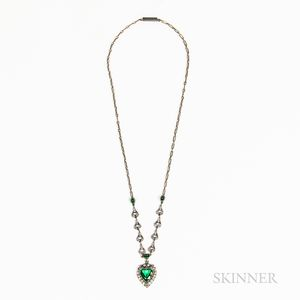 Antique Necklace with Green and White Paste Heart-form Pendant