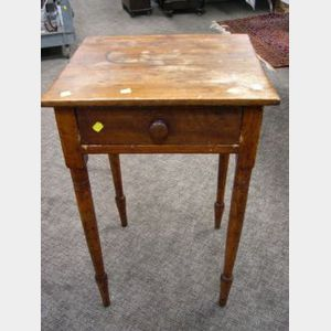 Country Classical Pine and Maple One-Drawer Stand.