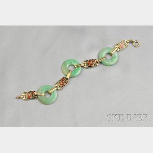 Art Deco 14kt Gold, Enamel, and Jadeite Bracelet, Enos Richardson & Co.