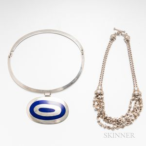 Dinesen Sterling Silver and Enameled Torque