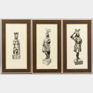 Three Lithographs of 19th Century Tobacconist Indian Figures and a Modern Carved Countertop Figure