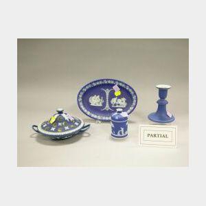 Seven Wedgwood Dark Blue Jasperware Items