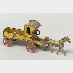 German Lithographed Tin Horse-Drawn Dray Penny Toy