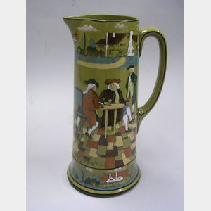 "1908 Buffalo Pottery Deldare Ware ""The Great Controversy,"" ""All you have to do teach   the Dutchmen English,"" Pitcher"