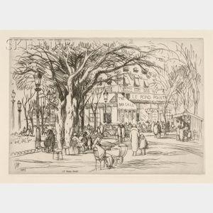Lester George Hornby (American, 1882-1956)      Lot of Three European Landscapes: Le rond point, Paris;   Seicheprey