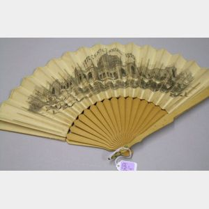 1876 United States Centennial Exhibition Scenic Printed Paper and Wooden Souvenir Hand Fan.