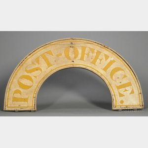 """Carved and Painted Wooden """"Post Office"""" Trade Sign"""