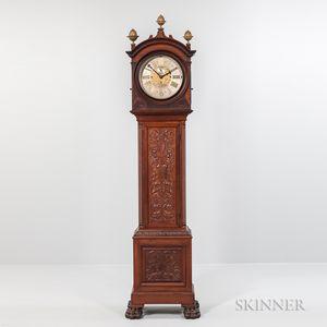 "Bigelow Kennard & Co. Carved Mahogany Quarter-chiming ""Hall"" Clock"