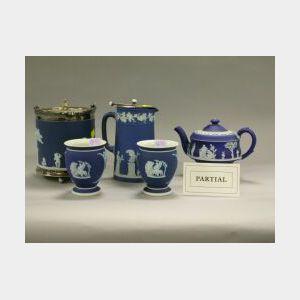 Nine Wedgwood Dark Blue Jasperware Items