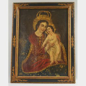 Spanish Colonial School, 18th/19th Century      Madonna and Child.