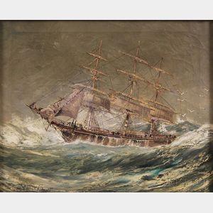 Robert J. Lie (American, 1899-1980)      Ship on Rough Seas.